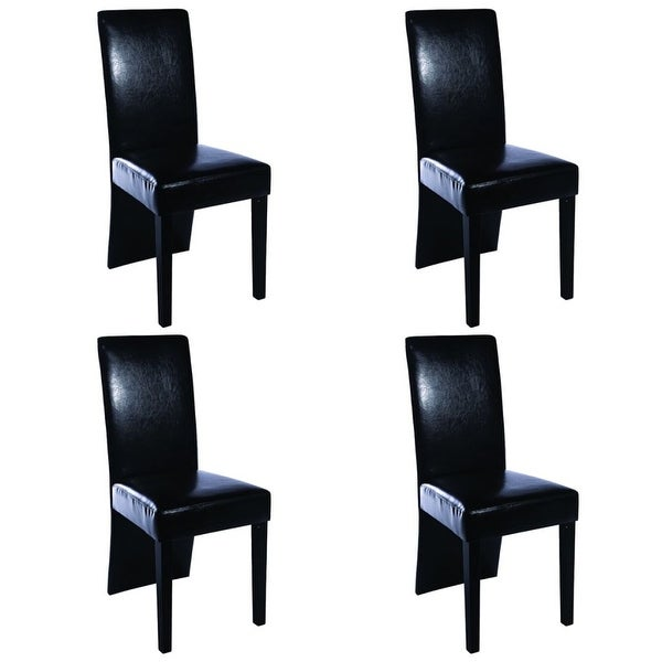 Shop Set Of 4 Black Dining Side Chairs Modern High Back