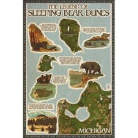 Sleeping Bear Dunes MI - Map - LP Artwork (100% Cotton Towel Absorbent)