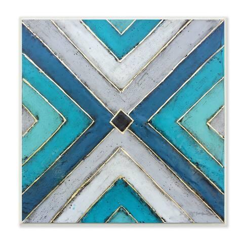 Stupell Industries Geometric Blue Grey Tile Symmetrical Patterned Design Wood Wall Art,12x12
