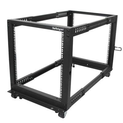 Startech 12U Adjustable Depth Open Frame 4 Post Server Rack With Casters/Levelers And Cable Management Hooks 4Postra