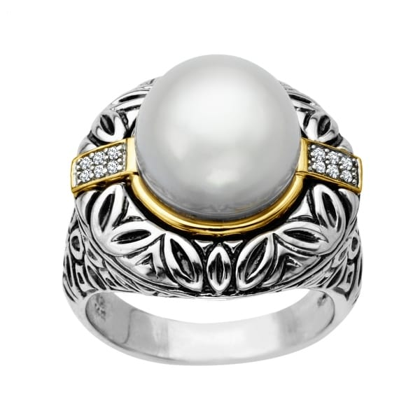 12 mm Pearl Ring with Diamonds in Sterling Silver and 14K Gold