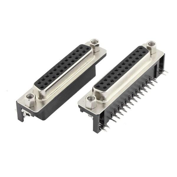 DB25 25 Pin Dual Row Lock Screw Straight Female Plug D-sub PCB Connector 2 Pcs