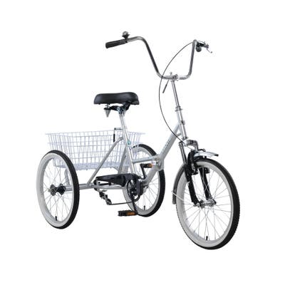 """20 Inch Single Speed Adult Folding Tricycle, Silver - 20""""-Silver"""