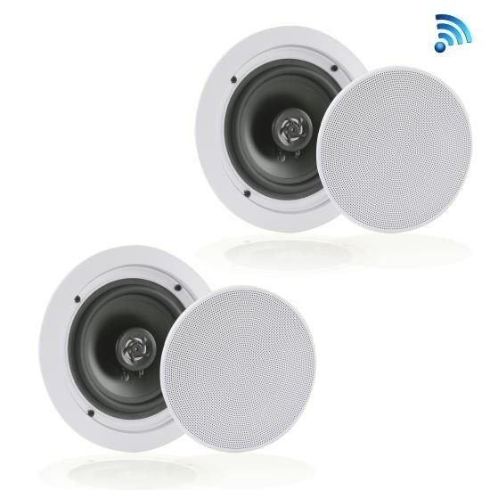 Dual 5.25'' Bluetooth Ceiling / Wall Speakers, 2-Way Flush Mount Home Speaker Pair, 150 Watt
