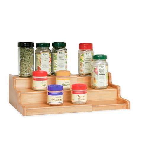 Seville Classics Bamboo Expandable 3-Tier Spice Rack Step Shelf Cabinet Organizer