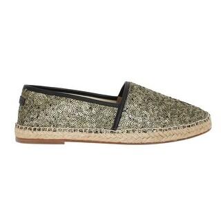 Dolce & Gabbana Gold Sequined Logo Loafers Espadrilles