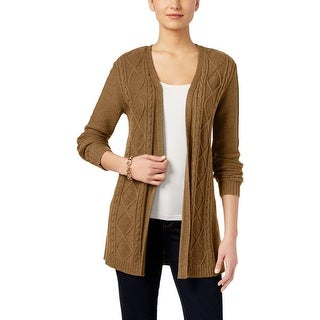 Karen Scott Womens Cardigan Sweater Ribbed Trim Cable Knit