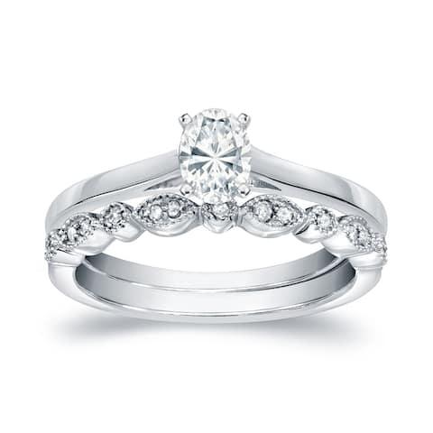 Auriya 14k Gold 1/2ctw Vintage Oval-cut Solitaire Diamond Engagement Ring Set