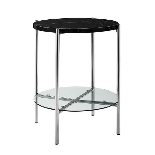 Offex 20 Round Side Table With Black Marble Top Gl Shelf And Chrome Legs