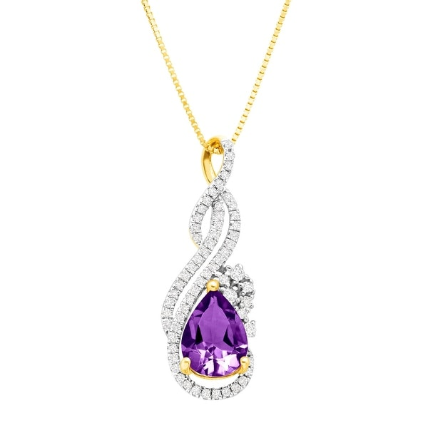 51ce8bd7c Shop 7/8 ct Amethyst & 1/5 ct Diamond Scroll Pendant in 14K Gold - Purple -  Free Shipping Today - Overstock - 18538614