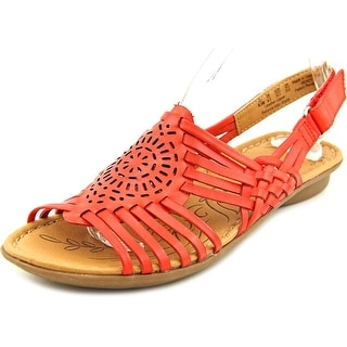Naturalizer Wendy Women W Open-Toe Leather Red Slingback Sandal