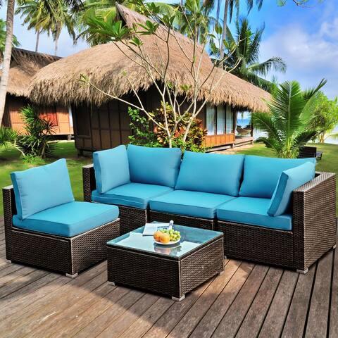 Gymax 5PCS Rattan Patio Conversation Set Sofa Furniture Set w/ - See Details