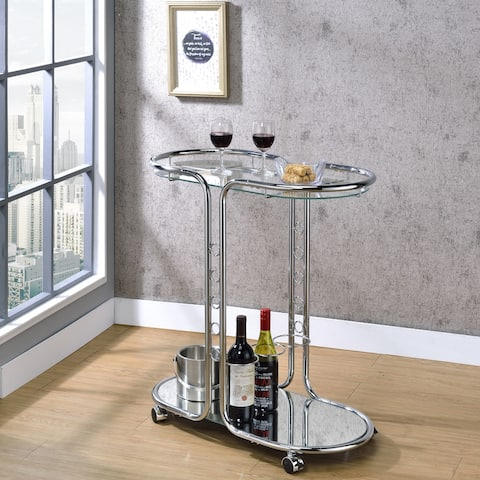 Furniture of America Daxton Chrome Glass Top Serving Cart