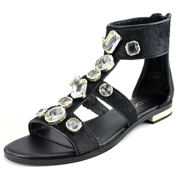 Aldo Eluniel Women Open Toe Suede Black Gladiator Sandal
