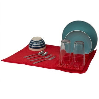 Plastic Dish Drying Rack with Buttoned Micro Fiber Drying Mat, Red
