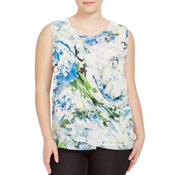 Calvin Klein Womens Plus Tank Top Chiffon Printed