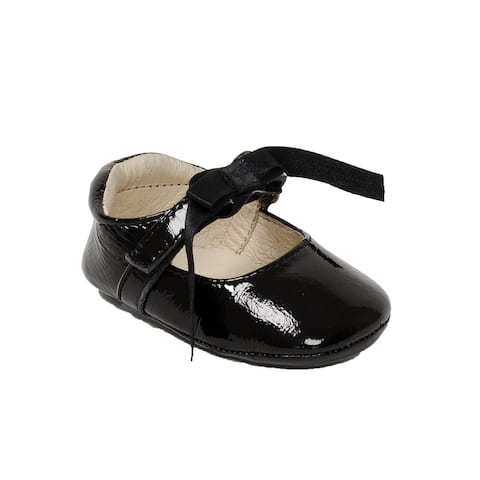 Pazitos Girls Patent Black Satin Bow Leather Mary Jane Shoes