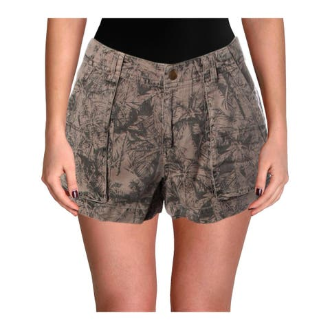 Pam & Gela Womens Palm Trees Casual Shorts Tencel Pattern - 0