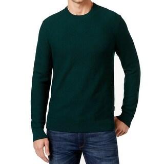 Michael Kors NEW Green Mens Size Medium M Waffle Knit Crewneck Sweater
