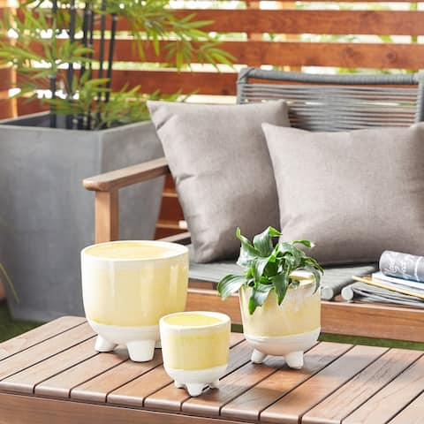 Cylindrical Ceramic Planter Set of 3 - x x