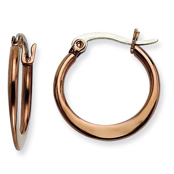 Chisel Stainless Steel Brown IP 19mm Hoop Earrings