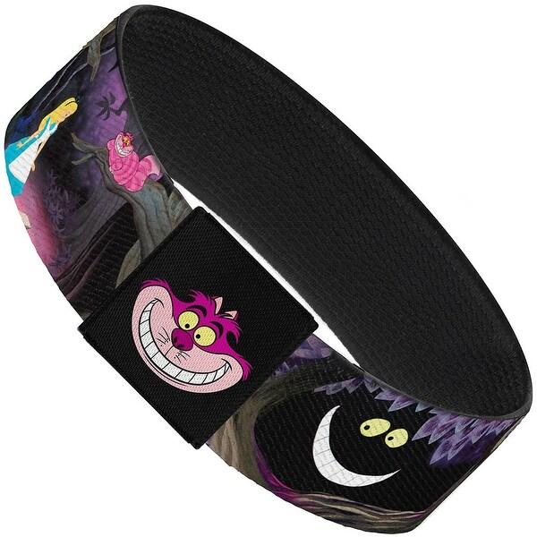 "Alice & The Cheshire Cat Scenes Elastic Bracelet 1.0"" Wide"