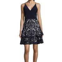 Xscape Navy Blue Womens Size 14 Illuison Fit N Flare A-Line Dress