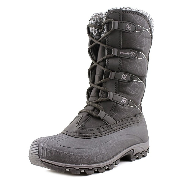 Kamik Fortress Women Round Toe Canvas Black Snow Boot