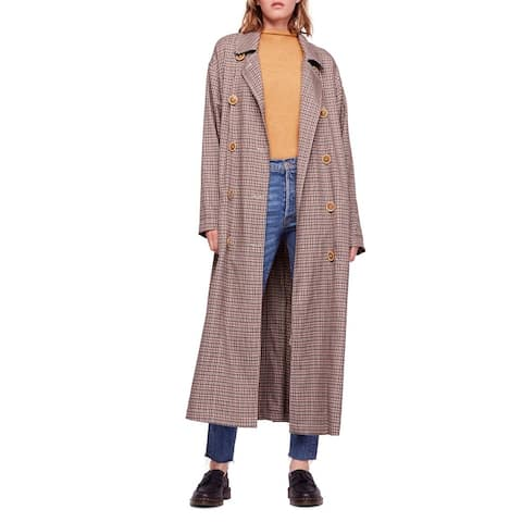 Free People Brown Womens Size Medium M Double Breasted Trench Coat