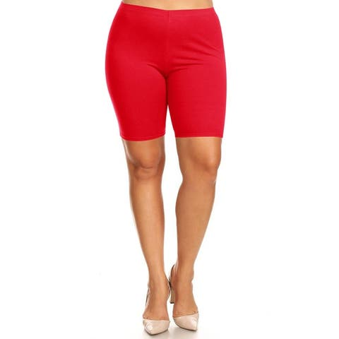Women's Plus Size High Wiast Yoga Gym Solid Biker Short Pants