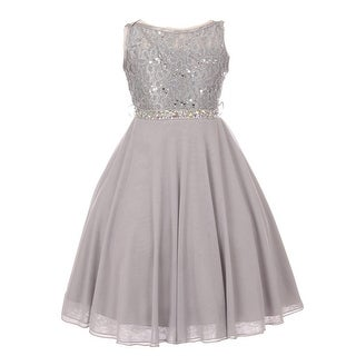 Girls Silver Sparkle Sequin Lace Chiffon Occasion Dress