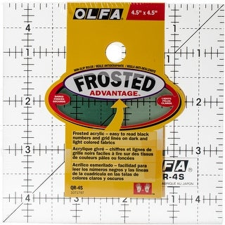 "OLFA Frosted Advantage Non-Slip Ruler ""The Charm""-4-1/2""X4-1/2"""