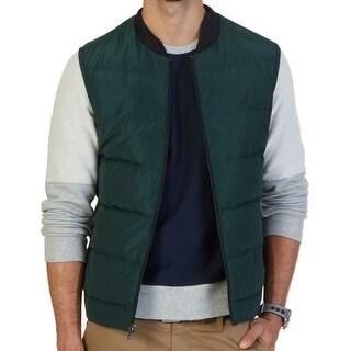 Nautica NEW Solid Green Mens Size 2XL Full-Zip Seamed Vest Jacket