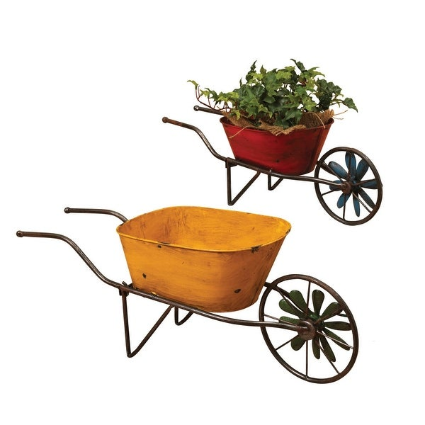 "Set of 2 Red and Yellow Antique Wheelbarrow Planters 22.75"" - N/A"