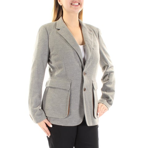RALPH LAUREN Womens Gray Pocketed Blazer Wear To Work Jacket Size: 12