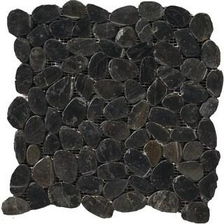 Shop Charcoal Flat Pebble Mesh Tile (Pack of 5) - Free