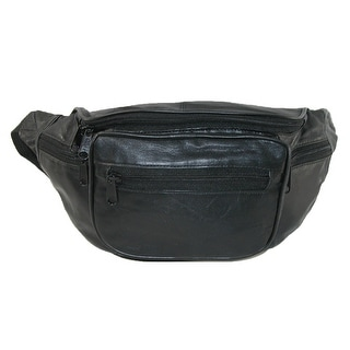 CTM® Leather Multi Pocket Waist Pack - Black