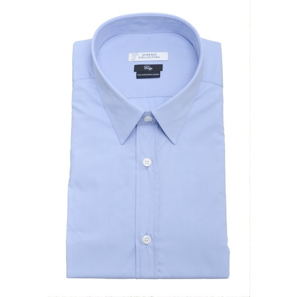 Versace Men City Cotton Dress Shirt Light Blue