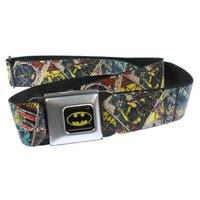 DC Comics Batman Seatbelt Belt- Classic Comic Book Covers Repeating-Holds Pants Up