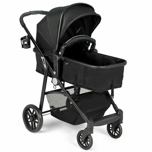 8a03f989e Costway 2 In1 Foldable Baby Stroller Kids Travel Newborn Infant Buggy  Pushchair Black