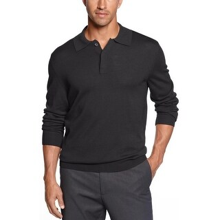 Club Room Estate Merino Wool Blend Polo Sweater Deep Black Lightweight