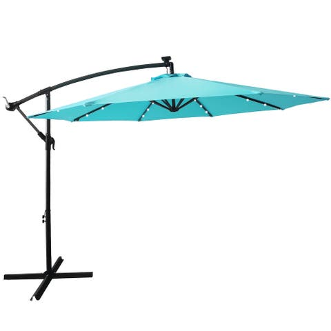 Nestfair 10FT Patio Offset Lighted Hanging Cantilever Umbrella