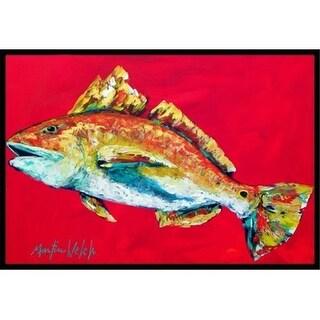 Carolines Treasures MW1103JMAT 24 x 36 in. Fish - Red Fish Woo Hoo Indoor Or Outdoor Doormat