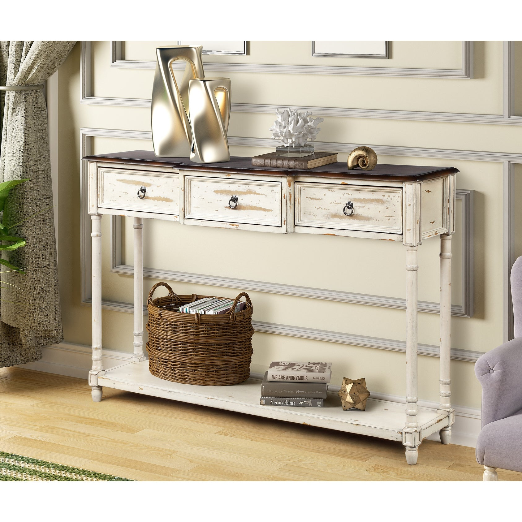 Farmhouse Entryway Console Tables With Drawers And Long Shelf Overstock 29621991