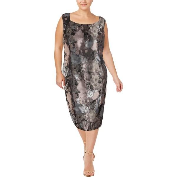 Kasper Womens Plus Cocktail Dress Printed Sheath