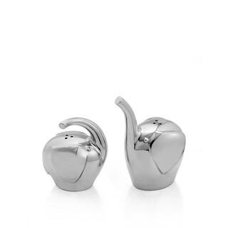 Nambè Savanna Elephant Salt & Pepper Shakers - Silver