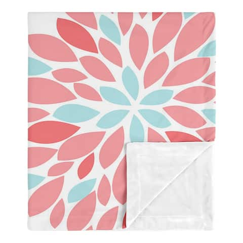 Floral Collection Girl Baby Receiving Security Swaddle Blanket - Turquoise Blue and Coral Flower Emma