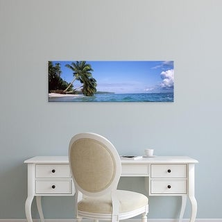 Easy Art Prints Panoramic Images's 'Palm trees on the beach, Indonesia' Premium Canvas Art