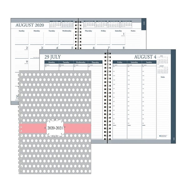"Monthly and Weekly Academic Calendar Planner, Dot Design Hard Cover, August-July, 7"" x 9"" - One Size. Opens flyout."