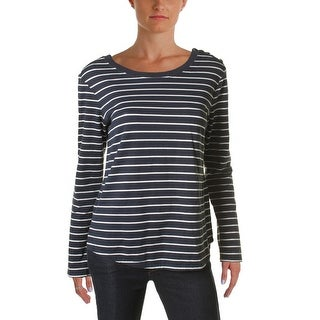 Sanctuary Womens Casual Top Striped Button-Detail